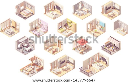 vector isometric home rooms