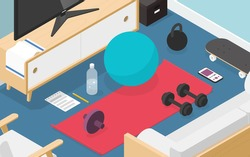 Vector isometric home workout illustration. Sport equipment on living room floor - mat, exercise ball, ab wheel, weights, towel and bottle of water.