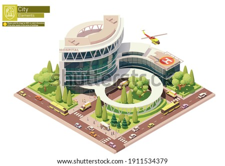 Vector isometric hospital or clinic building with emergency entrance, ambulance helicopter or medevac, helipad, ambulance vehicle