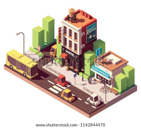 Vector isometric hotel building with neon sign, travel related advertising on the billboard and tourist information center