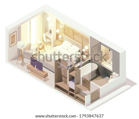 Vector isometric hotel suite interior cross-section. Hotel room with double bed, big window, tv, bathroom, bathtub and toilet, cabinet and other furniture