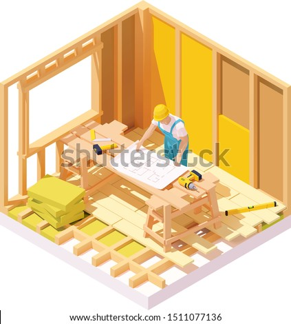 Vector isometric house construction site. Wooden logs framing, builder with house plan blueprint, insulation materials for walls and wooden floor