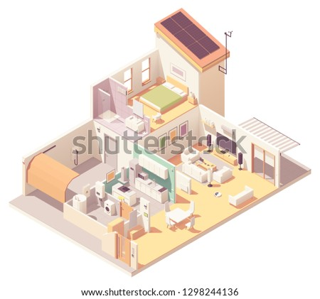 Vector isometric house cross-section, garage, kitchen, living room, bedroom and bath. Electronics, appliances and smart home devices