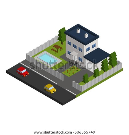vector isometric house on the