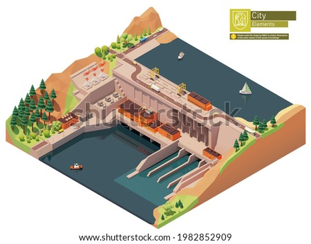 Vector isometric hydroelectric power station. Hydro power station dam on the river. Hydroelectric power plant with power lines Stock photo ©