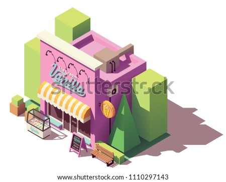 Vector isometric ice cream parlor or shop store building with signboard and awning