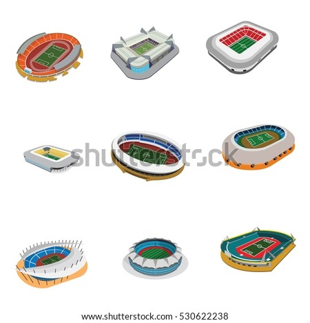 Vector isometric icon  infographic elements representing low poly sport arenas - football (soccer), basketball, hockey, American football, tennis, baseball stadiums.