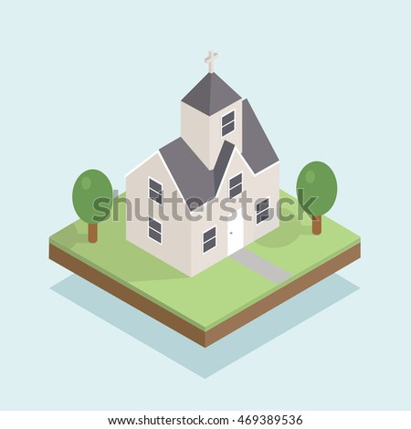 Vector isometric icon or info graphic element representing low poly old Christian Church building on grass