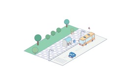 Vector isometric icon or infographic element representing bus approaching bus stop on the street. Isometric concept of bus stop