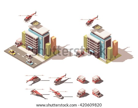 Vector Isometric icon or infographic element representing hospital, ambulance van and helicopter