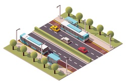 Vector isometric icon or infographic element representing low poly bus approaching bus stop on the street with trees, cars around