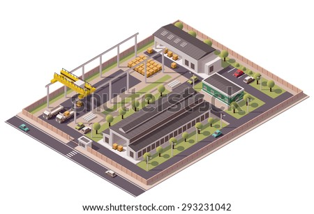 Vector isometric icon or infographic element representing low poly factory with industrial structures, warehouse and crane loading trucks