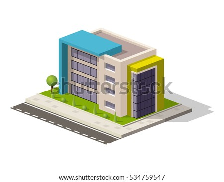 Vector isometric icon or infographic element representing low poly hospital building or office or store. Business center