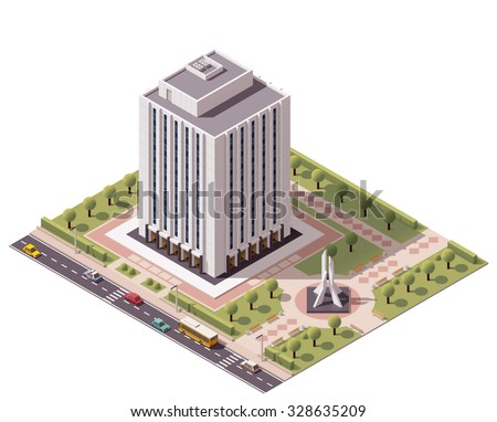 Vector isometric icon or infographic element representing low poly office building with monument in the park