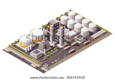 Vector isometric icon or infographic element representing low poly oil refinery plant, oil tanks, semi-trucks with cisterns, and other related facilities