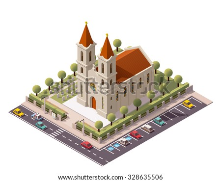 Vector isometric icon or infographic element representing low poly old Christian Catholic church building stock photo