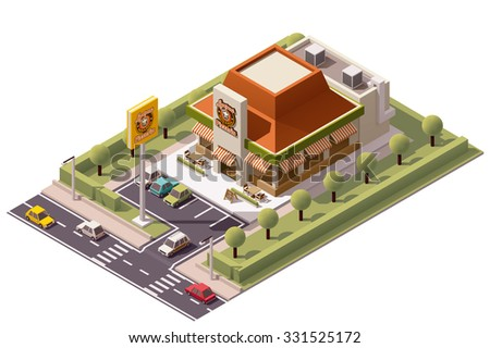 Vector isometric icon or infographic element representing low poly pizzeria restaurant  building with neon advertising sign, parking lot, cars and street