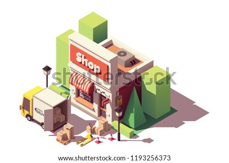 Vector isometric icon representing goods in cardboard boxes delivery to shop or store by truck and then moved by forklift