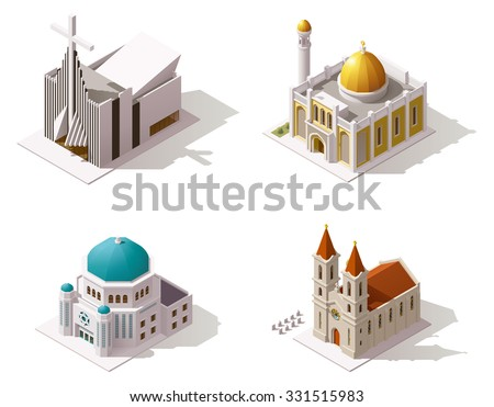 Vector Isometric icon set or infographic element set representing Muslim, Christian, Jewish temples buildings. Mosque, Catholic Church, Protestant Church, Synagogue