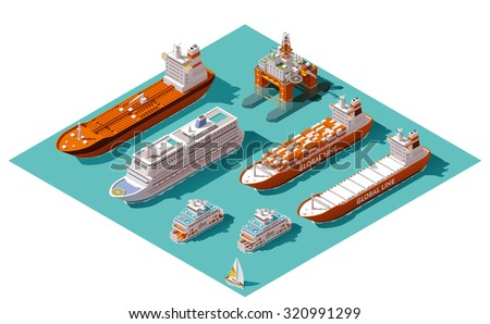 Vector isometric icon set or infographic elements representing low poly cargo container ship, oil tanker ship, passenger cruise ship, ferry loaded with cars and oil platform
