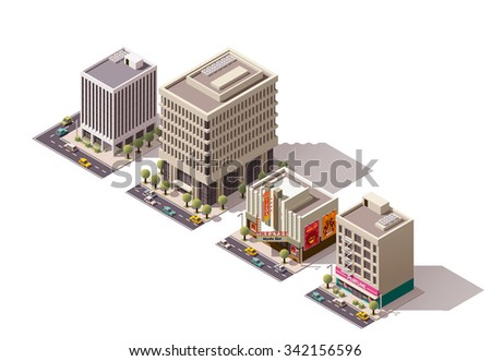 Vector isometric icon set or infographic elements representing low poly city buildings - office, movie theater, apartment buildings with shops on the ground floor