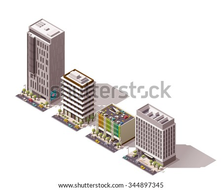 Vector isometric icon set or infographic elements representing low poly city office buildings