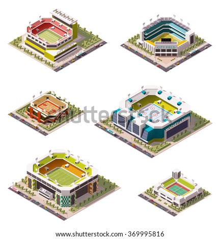 Vector isometric icon set or infographic elements representing low poly sport arenas - football (soccer), basketball, hockey, American football, tennis, baseball stadiums buildings exteriors