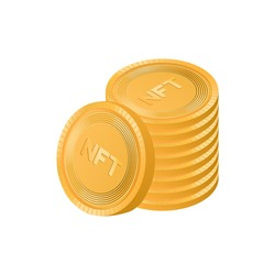 Vector isometric illustration of a stack of NFT coins. The concept of a non-fungible token is making a lot of money.