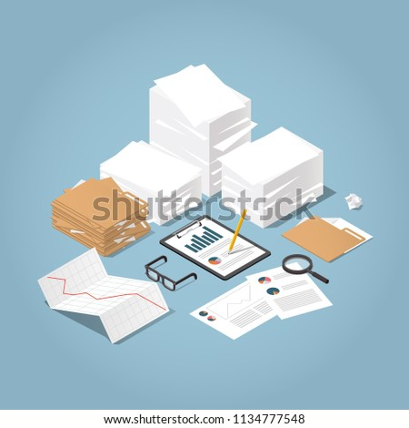 Vector isometric illustration of working with documents. Big stacks of paper and folders with glasses, documents, charts, magnifier.  Analysing and researching creative process concept.