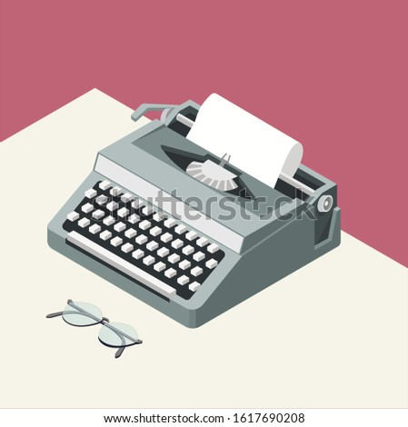 Vector isometric illustration with gray typewriter and glasses, on the white table, on the pink background. Modern writer. 3D illustration. Flat design. Work place. All elements are isolated. Foto d'archivio ©