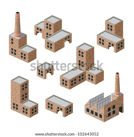 Vector isometric images of industrial buildings of brick