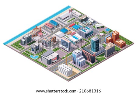 Vector Isometric industrial and business city district map with factories and offices
