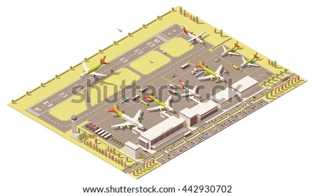 Vector Isometric infographic element representing low poly airport terminal with airport traffic control tower, landing jet airplane, ground support vehicles working at apron near the airplanes