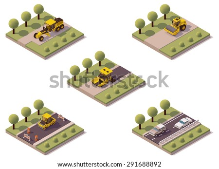 Vector isometric infographic element representing road surface asphalting technology and related machinery