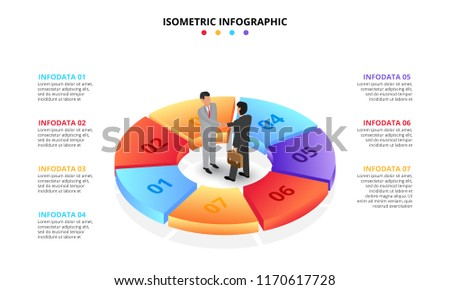 Vector isometric infographic with businessman handshake. Template for diagram, presentation and pie chart. Business concept with 7 options, parts, steps or processes. Partnership concept.