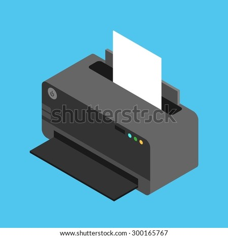 Vector isometric laser printer icon in flat style with paper