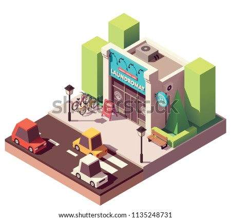 Vector isometric laundromat building with signboard and bicycle parking