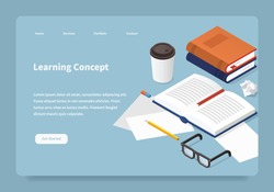 Vector isometric learning landing page. Student desk illustration: open book with a bookmark, papers, pencil, glasses, papers, eraser. Studying before exam concept.