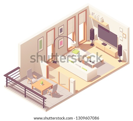 Vector isometric living room with balcony. Sofa, coffee table, tv and stereo system speakers, floor lamp and windows with roman blinds