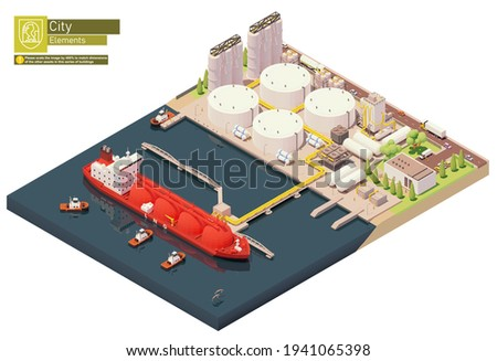 Vector isometric LNG carrier ship bunkering in LNG terminal. Tanker loading Liquefied Natural Gas at trading terminal. Vessel bunkering at gas storage Stockfoto ©