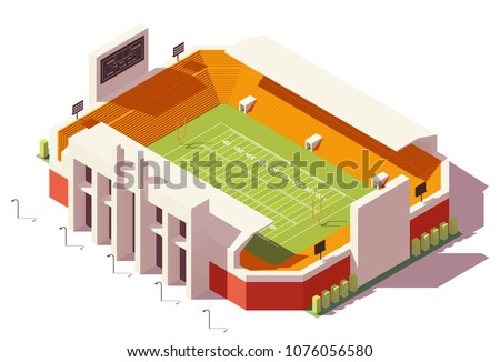 Vector isometric low poly american football or gridiron football stadium