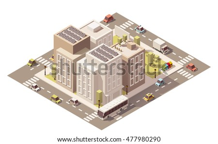 Vector isometric low poly buildings with stores and street elements