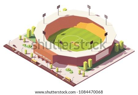 Vector isometric low poly cricket stadium building