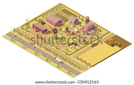 vector isometric low poly farm