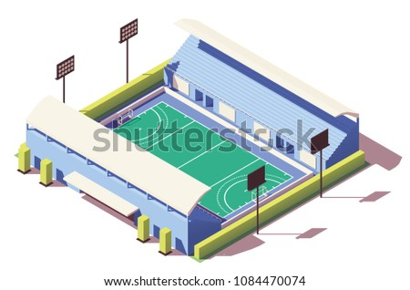 Vector isometric low poly field hockey stadium building