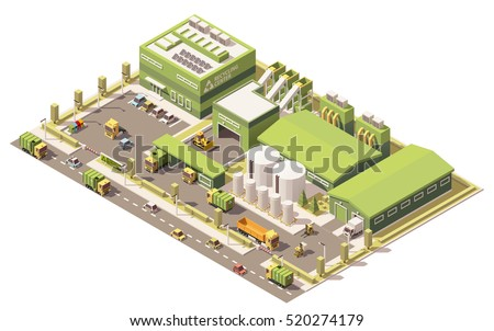 Vector isometric low poly garbage recycling center