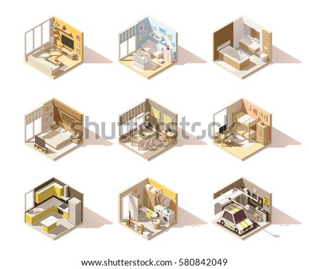 Vector isometric low poly home rooms set. Includes living room, bathroom, kitchen, kids room, garage, bedroom, and other