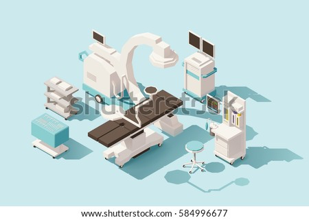 Vector isometric low poly hospital operating room. Includes operating table, x-ray scanner, anesthesia machine and other equipment #584996677