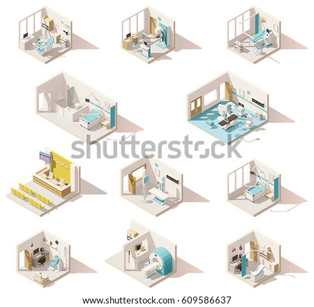 Vector isometric low poly hospital rooms set