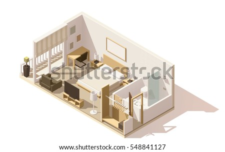 Vector isometric low poly hotel room cutaway icon. Room includes twin bed, table, other furniture, tv and bathroom